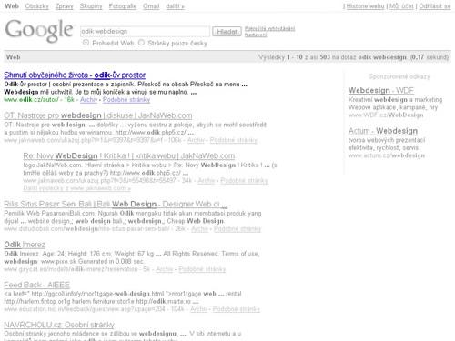obrázek: Pozice ve vyhledávači Google na klíčové slovo: odik webdesign