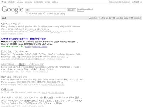 obrázek: Pozice ve vyhledávači Google na klíčové slovo: odik